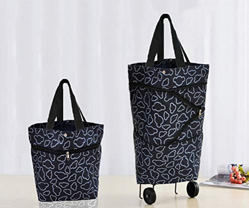 Cocobuy Collapsible Trolley Bags Folding Shopping Bag with Wheels