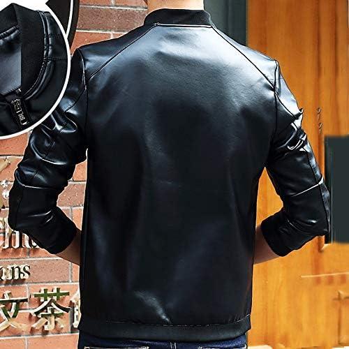 KASAAS Leather Jackets for Men Biker Motorcycle Zipper Button Pocket Autumn Winter Outwear Warm Coats Jacket