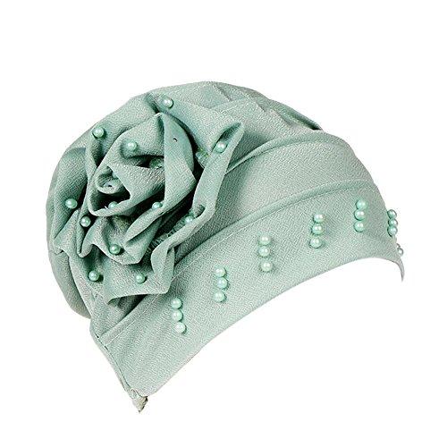 Price comparison product image Sunyastor Women India Hat Muslim Ruffle Cancer Chemo Hat Beanie Scarf Turban Head Wrap Cap Shower Cap Beach Hat (Green,  One Size)
