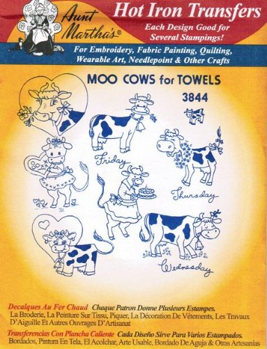Aunt Martha's Hot Iron Transfers #3844 Moo Cows for Towels ()