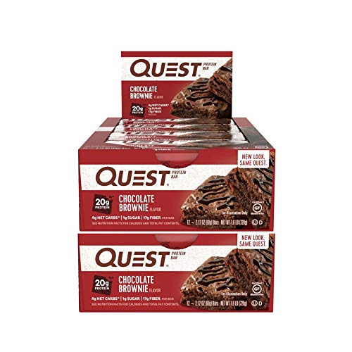 Quest Nutrition Protein Bar Chocolate Brownie. Low Carb Meal Replacement Bar w/ 20 g+ Protein. High Fiber, Soy-Free, Gluten-Free (24 Count)