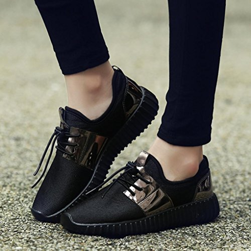 Voberry Damen Sneaker, Mode Unisex Männer Frauen Patchwork Lackleder Mesh Schuhe Casual Beathable Lace-up Sportschuhe Schwarz