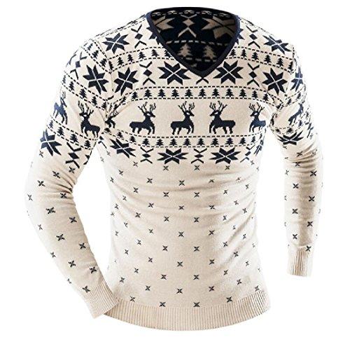 Winwinus Men Slim Fit Christmas Printing Pullover V Neck Thickened Sweatshirt Beige White M Men's V Neck Christmas Jumpers