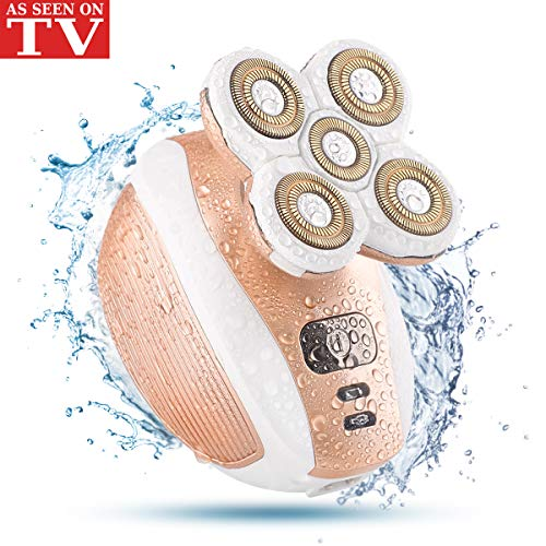 Women's Hair Removal Razor - Ladies Electric Painless Shaver Trimmer Waterproof Wet/Dry for Body Underarms Armpit Bikini Facial Cordless -As Seen On TV (Rosegold)