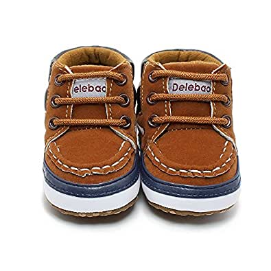 DELEBAO Infant Toddler Baby Lace Up Soft Sole High-top Suede Warm Sneakers Snow Boots (0-6 Months, Brown)