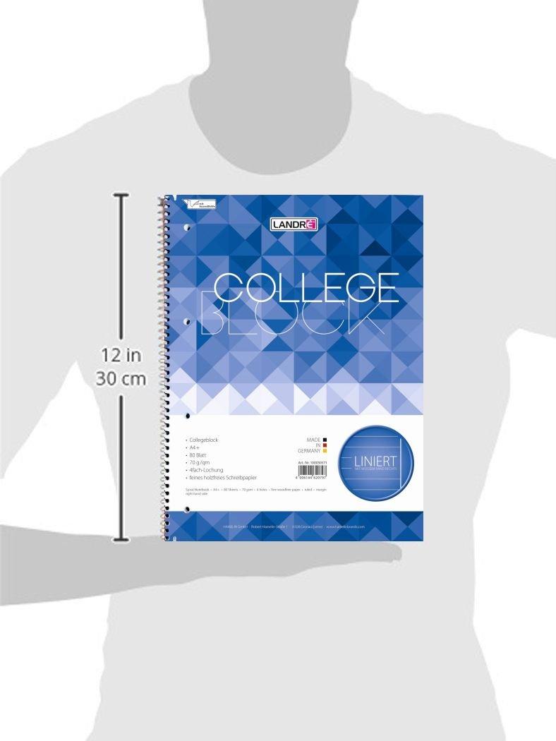 12 Collegeblöcke a 80 Blatt A4 Spirablock Collegeblock liniert mit rand gelocht