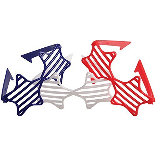 U.S. Toy Lot of 12 Assorted Color Patriotic Shutter Style Star Glasses