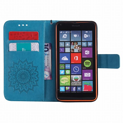 LEMORRY Microsoft Lumia 640 LTE Custodia Pelle Cuoio Flip Portafoglio Borsa Sottile Bumper Protettivo Magnetico Morbido Silicone TPU Cover Custodia per Microsoft Lumia 640 LTE, Fiorire Blu