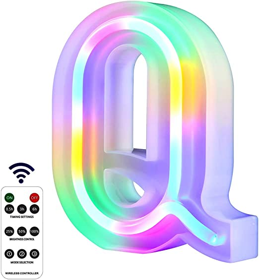 WARMTHOU Newly Upgrade LED Neon Letter Lights Marquee Alphabet Light Up Letters with Remote Control,USB/Battery Powered Light Up Letters for Home Decoration Colourful (RC-Q)