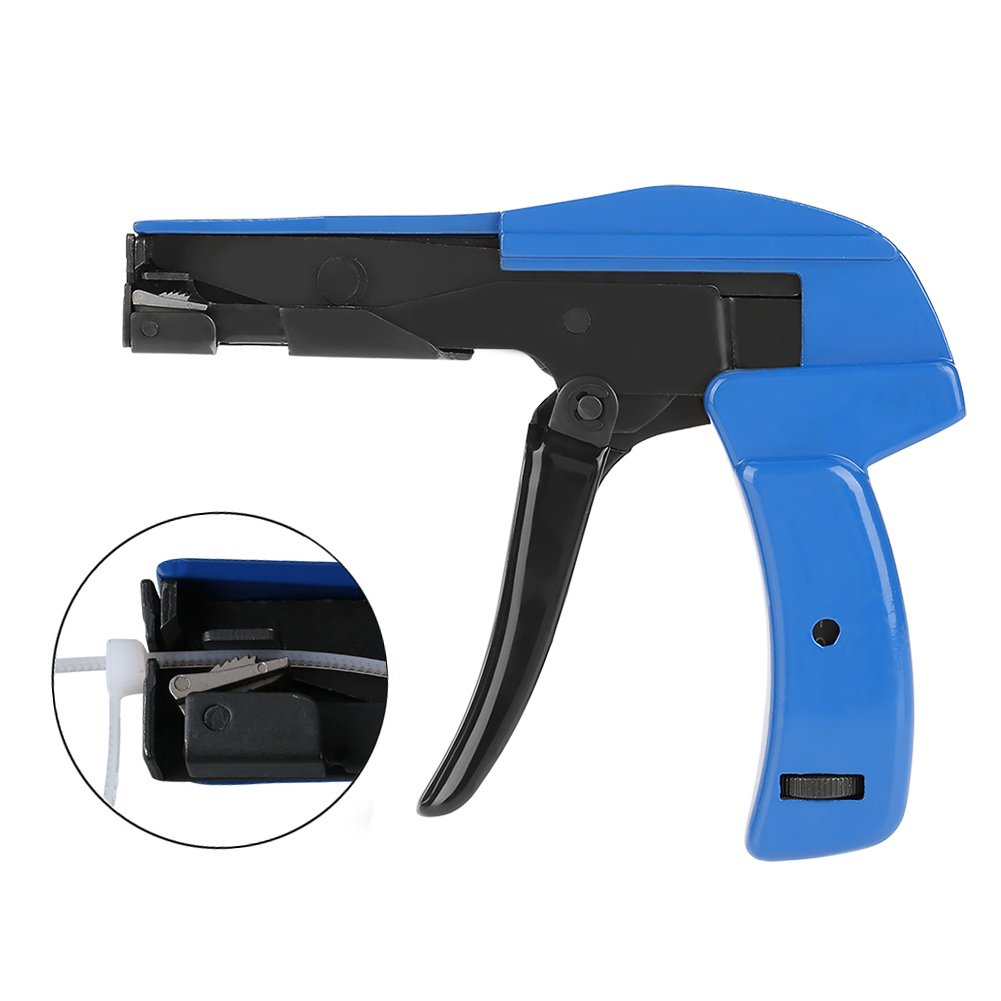 Nylon Cable Tie Gun, Steel Cable Tie Gun with Handle, Nylon Tension Fastening and Cutting Tool for Nylon Cable Wire 2.4-4.8mm