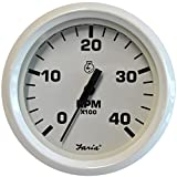 The Excellent Quality Faria Dress White 4'' Tachometer - 4,000 RPM - (Diesel - Magnetic Pick-Up)