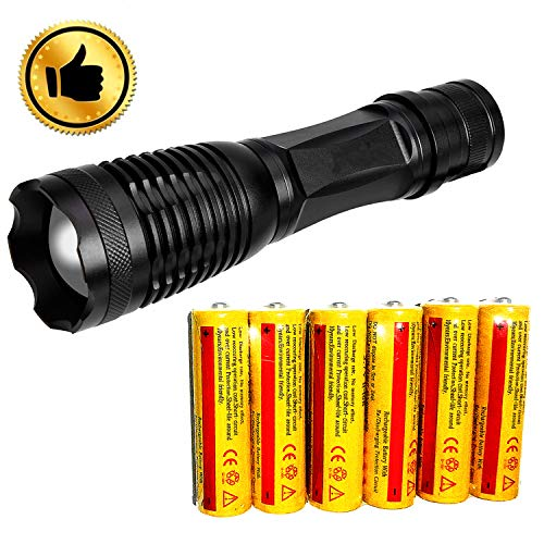 Ultra-bright 18650 flashlight with 6PCS 3.7V Rechargeable Battery,Best waterproof flashlight, adjustable focal length and 5 lighting modes, suitable for outdoor activities. (Flashlight)
