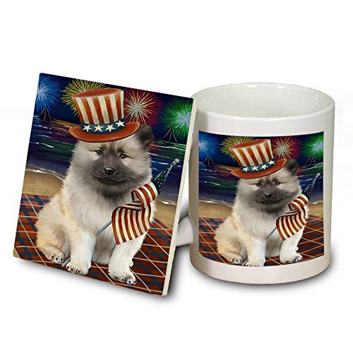 4th of July Independence Day Firework Keeshond Dog Mug and Coaster Set MUC52437 (Coasters Safe Independence Dishwasher)