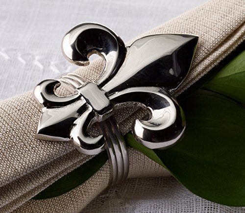 - KINDWER Nickel Fleur de Lis Napkin Ring, Silver