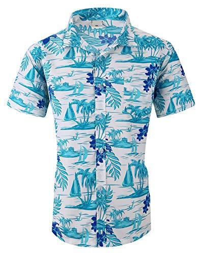 XTAPAN Men Short Sleeve Shirt-Flower Leaf Palm Tree Print Camp Button Down Hawaiian Shirt US XL=Asian 5XL 83 hao se 8090