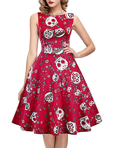 IHOT Vintage Tea Dress 1950's Floral Spring Garden Retro Swing Prom Party Cocktail Dress for Women -