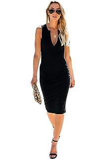 Loomiloo Bodycon Midi-Kleid Damen Neon Sommerkleid mit Stehkragen RIPP-Optik Elegant Neonkleider Abendkleid