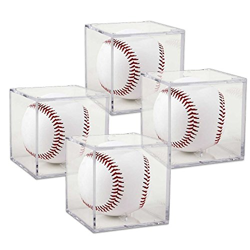 Autograph Display ((Set of 4) Grandstand UV Protection Baseball Display with Built-in Cradle)