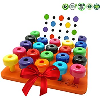 Peg Board Set with Pattern Card by Skoolzy - Fine Motor Toy for Toddlers and Preschoolers Occupational Therapy Montessori Color Recognition Sorting