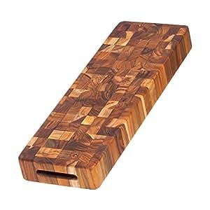 Teak Cheese Board - Rectangle End Grain Serving Board (18 x 6 x 2 in.) - By Teakhaus