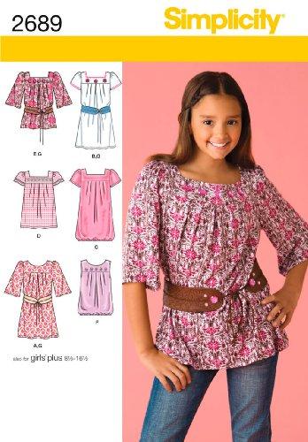 UPC 039363326618, Simplicity Sewing Pattern 2689 Girls/Girls Plus Tops, BB (8 1/2 - 16 1/2)