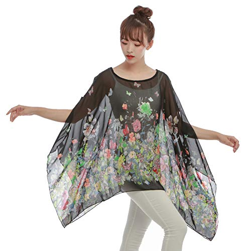 Max Hsuan Women's Loose Solid Sheer Chiffon Caftan Poncho Batwing Tunic Top Blouse Summer Oversized Shirts (Butterfly&Floral)