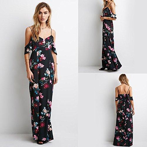 Womens Fashion Casual Chiffon Long Slip Maxi Dress (Black) - 5
