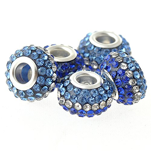 RUBYCA Big Hole Czech Crystal Large Charm Beads fit European Bracelet (5pcs, 15mm, Blue and (Gold Sapphire Bracelet Slide)