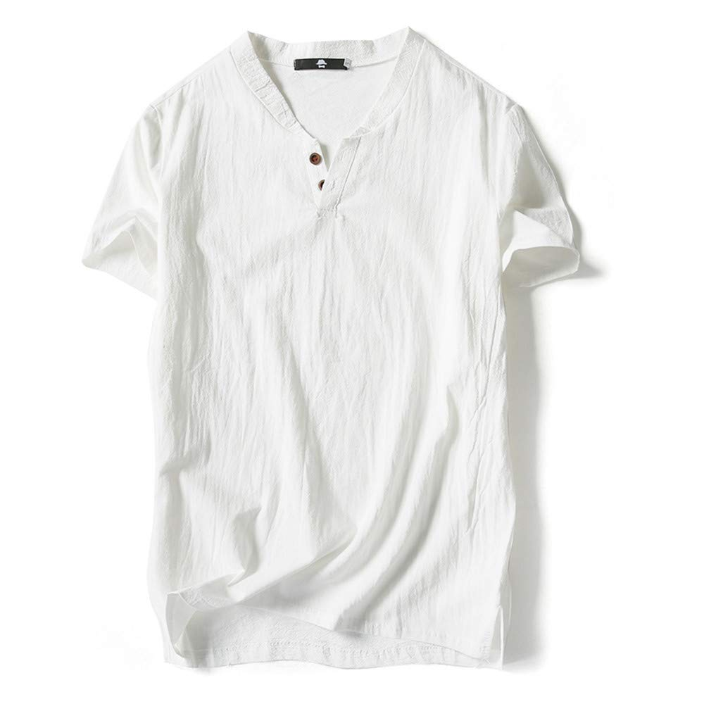 Men's T-Shirt Casual Linen and Cotton Short Sleeve Solid Button V-Neck T-Shirt (XL, White) by Pafei Men's T-Shirts (Image #1)