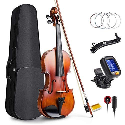 Vangoa 4/4 Violín de Concierto Madera Maciza Violines Acústico con Funda de violín, Hombro, Colofonia y Cuerdas de…