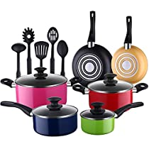COOKSMARK Pots and Pans 15 Piece Performance 3 Layer Nonstick Cookware Set,Heavy Gauge and Durable,Even Heat Distribution-inc.5 FDA Grade Nylon Utensils