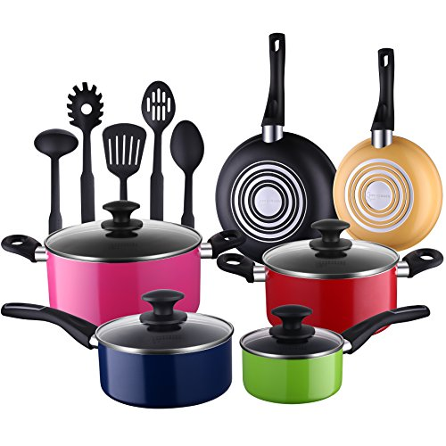 Cooksmark 15-Piece Nonstick Cookware Set-Multicolor Kitchen Pots and Pans Set Nonstick with 5-piece FDA Grade Nylon Cooking Utensils Review