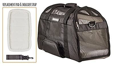 Caldwell's Pets Supply Co. Deluxe Soft-sided Airline Approved Airport Pet Carrier Travel Bag - Under Seat Carry-on for Cats and Small Dogs (Black)