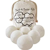Updated Version(Made of The Latest Shearing)-Wool Dryer Balls-Pack of 6 XL,100% Premium Reusable New Zealand Natural Fabric Softener,Saves Drying Time, Handmade Dryer Balls,Friendlier Than Dryer Sheets/100% Satisfaction