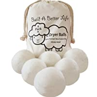 Updated Version(Made of The Latest Shearing)-Wool Dryer Balls-Pack of 6 XL,100% Premium Reusable New Zealand Natural Fabric Softener,Saves Drying Time, Handmade Dryer Balls/100% Satisfaction