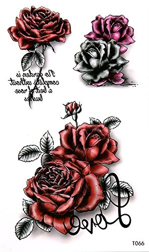 Rosas Flores tatuaje Tattoo Fake Tattoo 70: Amazon.es: Belleza