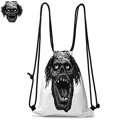 Halloween Drawstring backpack series Zombie Head Evil Dead Man Portrait Fiction Creature Scary Monster Graphic Convenient choice for daily activities W13.8 x L17.7 Inch Black Dark Grey]()