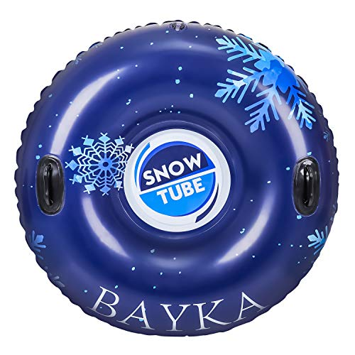 BAYKA Inflatable Snow Tube with Rapid Valves, Round Heavy Duty Air Snow Sleds for Kids and Adults, 47 Inch, Blue