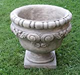 Pack of 2 Old World Scroll Design Cast Stone Concrete Outdoor Garden Urn Planters