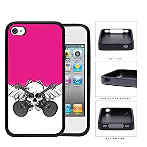 Skull And Acoustic Guitars In Pink Rubber Silicone TPU Cell Phone Case Apple iPhone 4 4s wangjiang maoyi