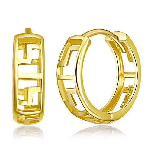 14k Yellow Gold 4mm Thickness Greek Key Huggies Earrings (12 x 12 ()