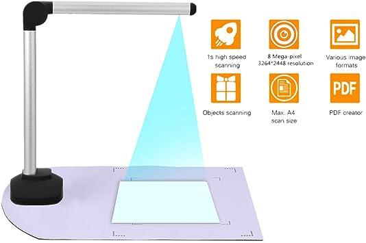 SODIAL Esc/áNer de C/áMara de Documentos A4 de Alta Velocidad Port/átil con Imagen de Libro USB con C/áMara de 8.0MP Banco de Biblioteca de Oficina Escolar HD de Alta Definici/óN