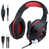 eForHome Gaming Headset with Mic Noise Cancelling Headphones for PS4 PlayStation 4 / PC / Laptop / Tablet / Mac iPhones, 3.5MM Headphone Splitter with USB LED Light (Black-red)