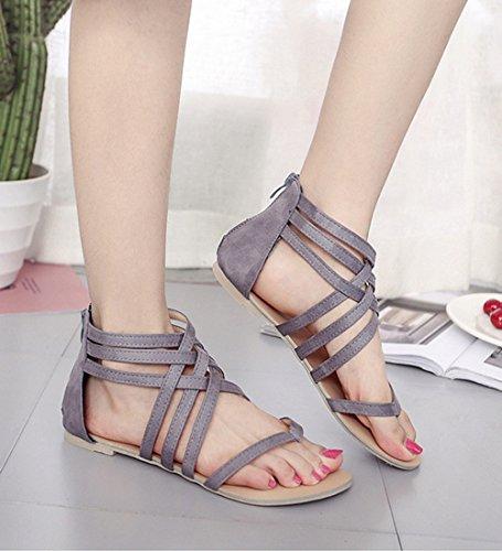 Minetom Mujeres Verano Moda Zapatos Correa Del Tobillo Romana Clip Toe Trenzado Sandalias Zapatillas de Playa Gris