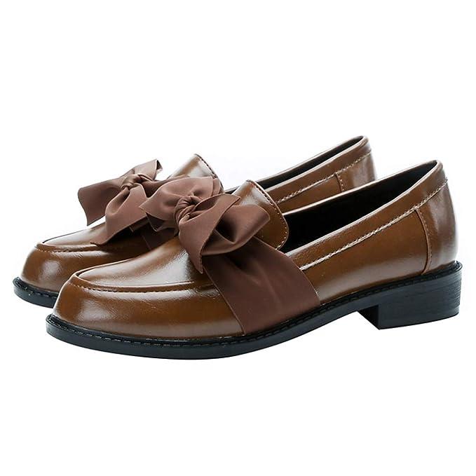 Zapatos Planos Mocasines Retro Zapatos NáUticos Zapatos De Trabajo Casual Mary Jane Oficina Mocasines Mujer Estilo BritáNico Zapatos De Cuero Con Nudo De ...