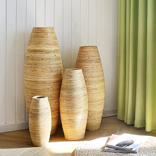 BAGEHUA 籐木工芸品花瓶花瓶ルームロビー階の装飾壺大きな三つ編みにした、ドライフラワーアレンジメント高 40 cm B075K8QPQB High 40cm High 40cm