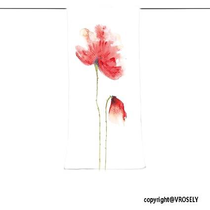 vroselv Custom toalla suave y cómodo playa towel-red Poppy diseño de flores sobre blanco