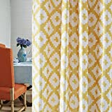 Clacoco Yellow Curtain for Living Room – Grommet Top Lively Bright Geometric Curtain Panel 42″ W 84″ Long(2018 New) For Sale