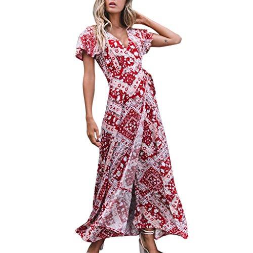 Xinantime Women's Boho Dress Sexy Side Slit Dress V-Neck Short-Sleeved Floral Print Dress Beach Long Dress Red (Nike Belted Belt)