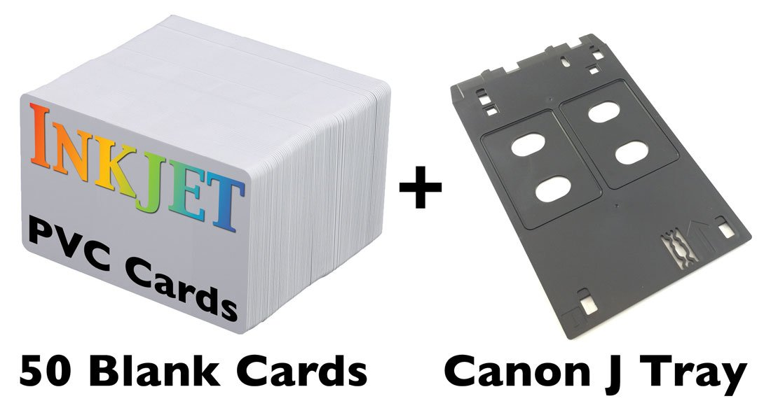 Inkjet PVC ID Card Starter Kit - Includes 50 Cards - Compatible with Canon J Tray Printers (50 Cards)
